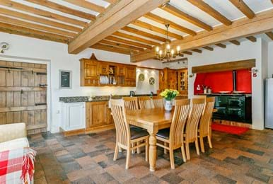 The farmhouse style kitchen with Aga at Lower Hall