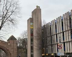 Pepper Street car park in Chester boasts a lion on the top of its tower