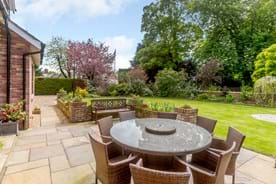 the garden at a detached house for sale with Chester estate agency Rickitt Partnership