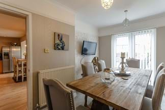 A dining room in a semi-detached house for sale with Chester estate agent Rickitt Partnership