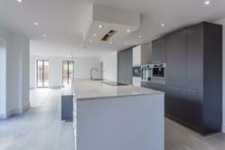 open plan living space with bifolding doors in a new build house in Kelsall