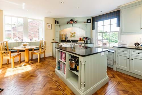 The traditional country style kitchen in a Georgian house for sale with Chester estate agents Rickitt Partnership