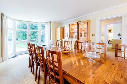 the rather grand dining room in a Georgian house for sale with Rickitt Partnership Chester estate agents