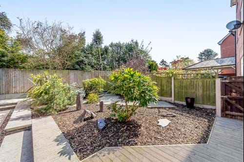 the patio and garden area at a house for sale in Abbot's Park, Chester with estate agent Rickitt Partnership