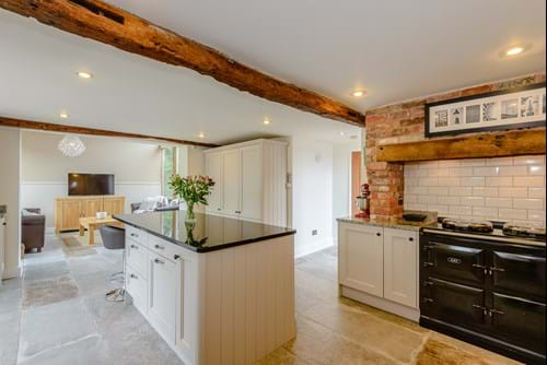 the kitchen in a contemporary barn conversion for sale with Chester estate agent Rickitt Partnership