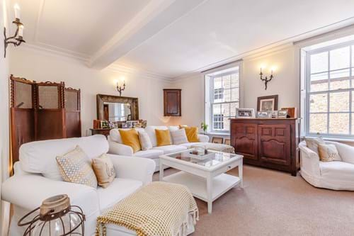 the drawing room in a Georgian townhouse for sale in Chester
